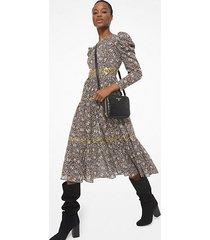 mk abito decorato in batista di cotone con maniche a palloncino e motivo paisley - caramello (marrone) - michael kors