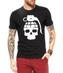 camiseta criativa urbana caveira granada