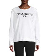 karl lagerfeld paris women's embellished logo sweatshirt - white - size xs