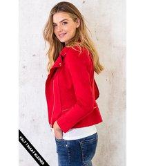 biker jacket suede rood
