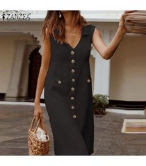 zanzea vestido sin mangas con cuello en v y escote redondo sin mangas para mujer vestido largo tallas grandes -negro