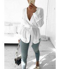 blanco cinturón diseño deep v cuello blusa de manga larga