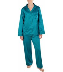miss elaine petite brushed back satin pajama set