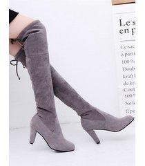 moda gamuza hasta la rodilla botas