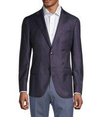 lubiam men's modern-fit windowpane virgin wool jacket - burgundy - size 60 (50)
