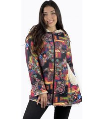 abrigo floral chiporro hippie negro enigmática boutique