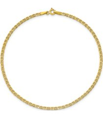 anchor chain anklet in 14k yellow gold
