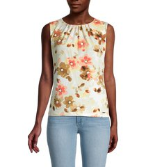calvin klein women's floral-print sleeveless top - wheat multicolor - size xs