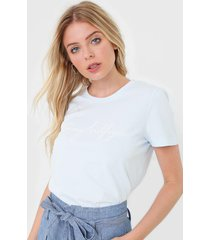 camiseta tommy hilfiger graphic azul - azul - feminino - algodã£o - dafiti