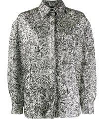 alberta ferretti crinkle-effect shirt - silver