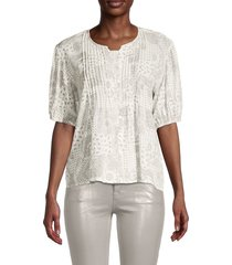 lucca women's printed cotton blend blouse - white - size m