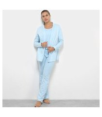 conjunto pijama flora zuu 3 peças feminino