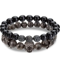 eye candy la men's crystal & agate beads bracelet