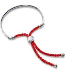 fiji friendship bracelet - coral red, sterling silver