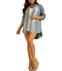 guess amaia lace-trim chambray tunic top