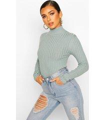 petite high neck fine knit rib sweater, slate blue