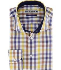 ledub overhemd geruit blauw geel tailored fit