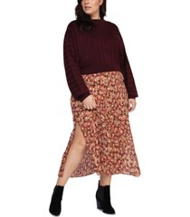 black tape plus size long-sleeve ribbed sweater