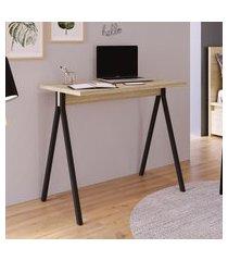 mesa escrivaninha home office slim 90cm artesano carvalho e preto