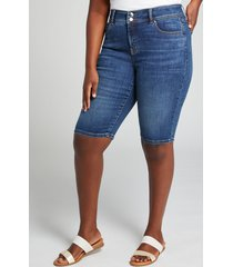 lane bryant women's tighter tummy fit high-rise denim bermuda short - medium wash 14 medium denim