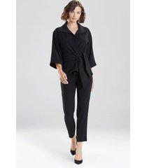 natori bi-stretch belted jacket top, women's, black, size s natori
