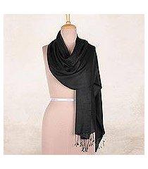 silk shawl, 'onyx nights' (india)
