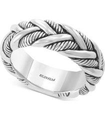 effy men's braided ring in sterling silver