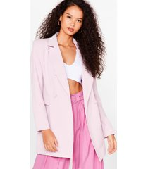 womens office hours longline double breasted blazer - pink