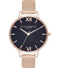 olivia burton women's classics rose gold-tone stainless steel mesh bracelet watch 34mm