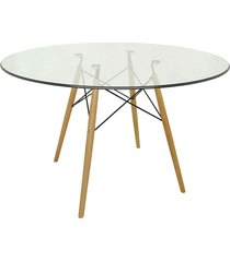 mesa eiffel com vidro incolor base madeira rivatti móveis marrom