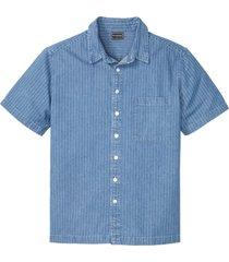 camicia in jeans a maniche corte slim fit (blu) - rainbow