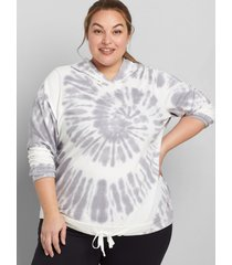 lane bryant women's livi french terry hoodie - tie-dye 10/12 white