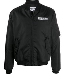 moschino micro teddy bear bomber jacket - black