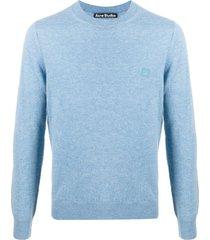 acne studios suéter decote careca com patch - azul