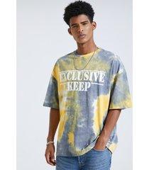 camiseta con estampado de letras y teñido anudado cómodo 100% algodón para hombre