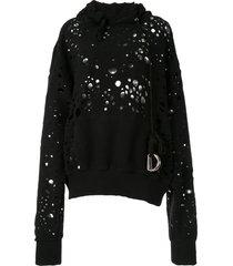 we11done distressed effect hoodie - black