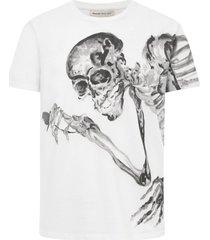 alexander mcqueen skeleton flower t.shirt