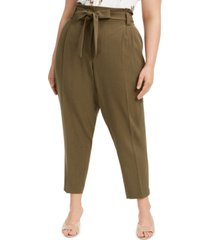 calvin klein plus size slim-ankle tie-waist pants
