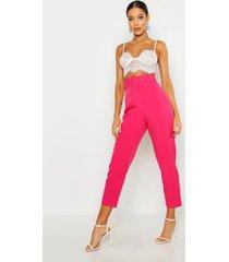 toelopende broek met brede riem en rechte pijpen, hot pink