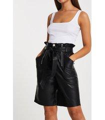 river island womens black pu zip detail smart shorts