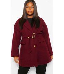 plus nepwollen jas met millitair detail en ceintuur, burgundy