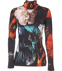 black t-shirt with floral print