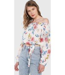 blusa blanco-multicolor paris district