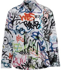 all-over graffiti button down shirt