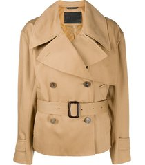 givenchy short belted trench coat - brown