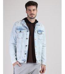 jaqueta jeans masculina trucker com rasgos azul claro