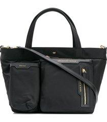 anya hindmarch mini multi pocket tote - black