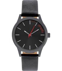 simplify quartz the 2400 black case, genuine black leather watch 42mm