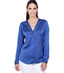 camisa love poetry lisa azul - azul - feminino - acetato - dafiti