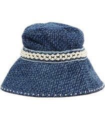 pearl embellished frayed denim bucket hat